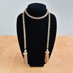 Vintage Monet Damita Lariat Tassel Necklace